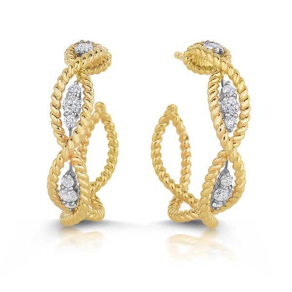 Roberto Coin New Barocco Diamond Braided Hoop Earrings