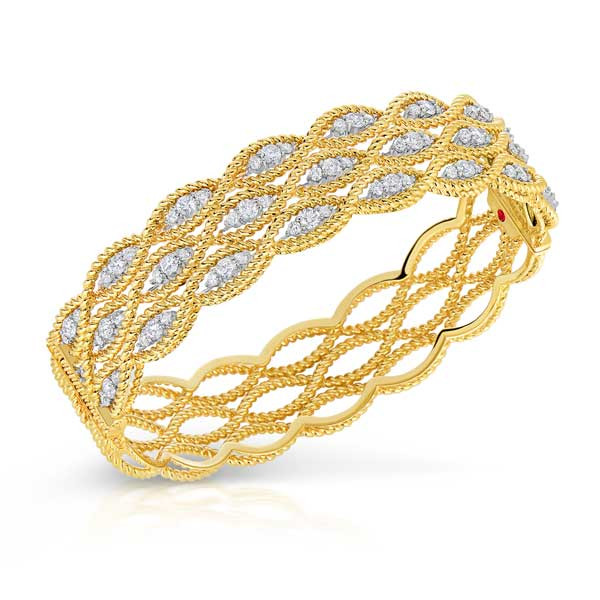 Roberto Coin Barocco Yellow Gold 3 Row Diamond Bangle
