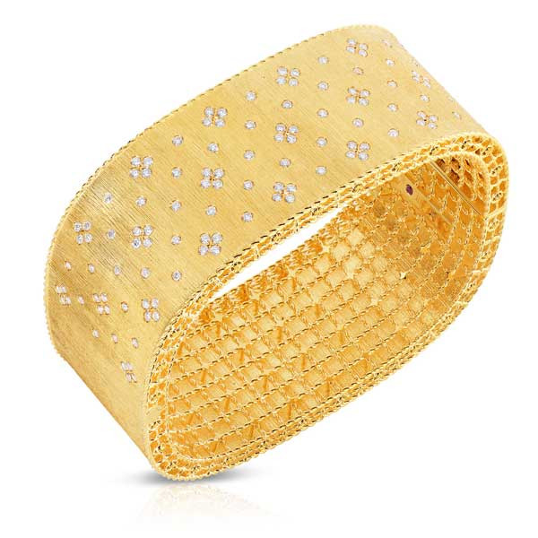 Roberto Coin Princess Yellow Gold Large Diamond Bangle