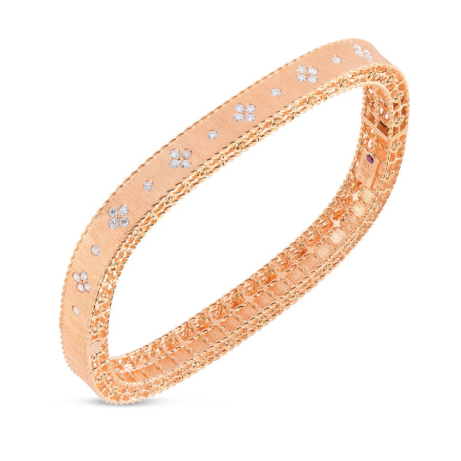 Roberto Coin Rose Gold Diamond Bangle Princess Bracelet