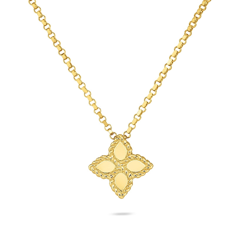 Roberto Coin Yellow Gold Small Princess Flower Pendant Necklace