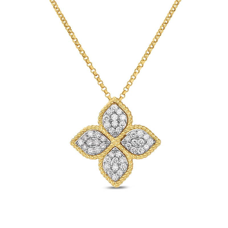 Roberto Coin Yellow Gold Large Diamond Princess Flower Pendant Necklace