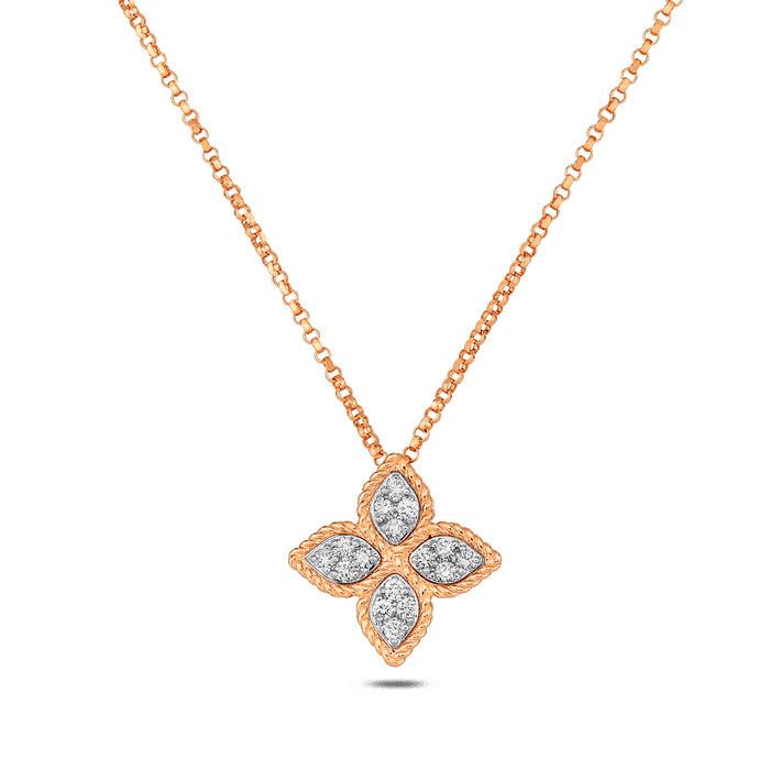 Roberto Coin Flower Rose Gold Diamond Pendant Princess Necklace