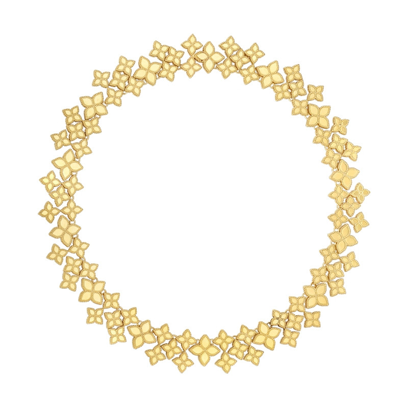 Roberto Coin Princess Flower Yellow Gold Wide Link Collar Necklace Full View