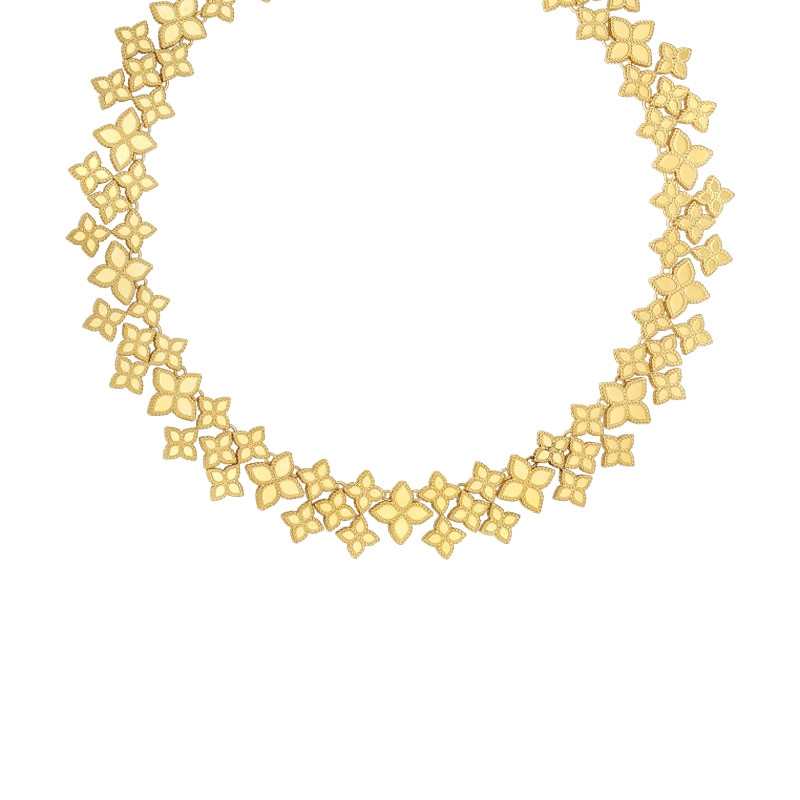 Roberto Coin Princess Flower Yellow Gold Wide Link Collar Necklace
