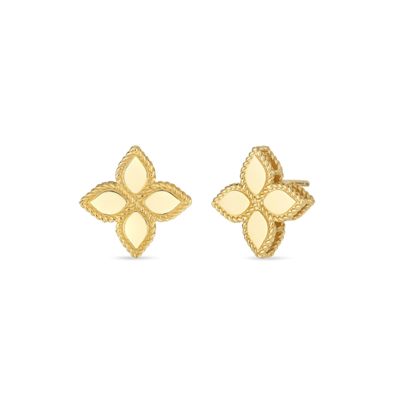 Roberto Coin Yellow Gold Medium Princess Flower Stud Earrings