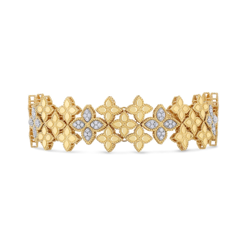Roberto Coin Yellow Gold Wide Diamond Princess Flower Link Bracelet Front View