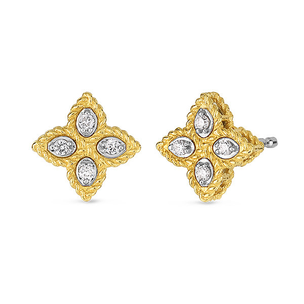 Roberto Coin Small Diamond Princess Flower Stud Earrings