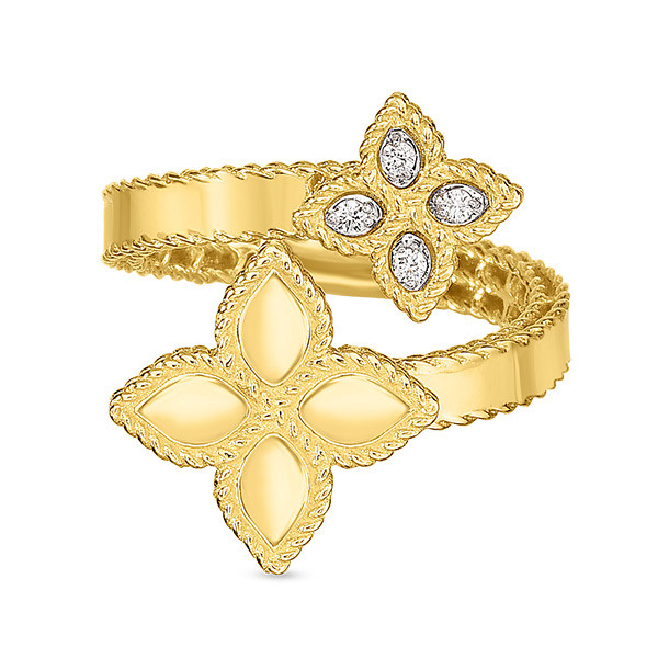 Roberto Coin Overlap Diamond Princess Flower Ring Front View