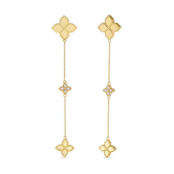 Roberto Coin Long Diamond Princess Flower Drop Earrings