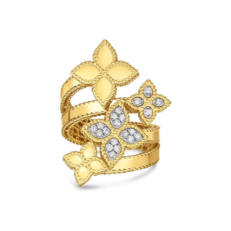 Roberto Coin Yellow Gold Four Flower Diamond Bypass Princess Flower Ring