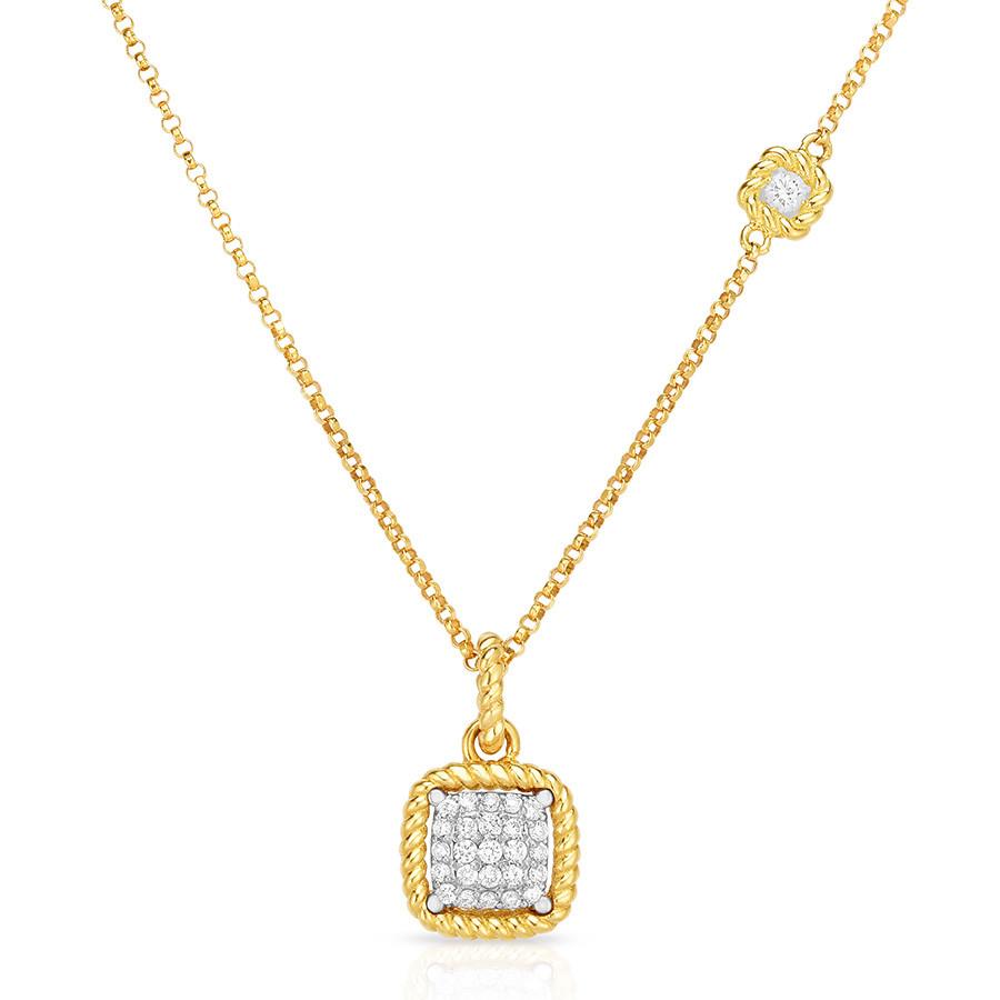 Roberto Coin Square New Barocco Diamond Pendant Necklace