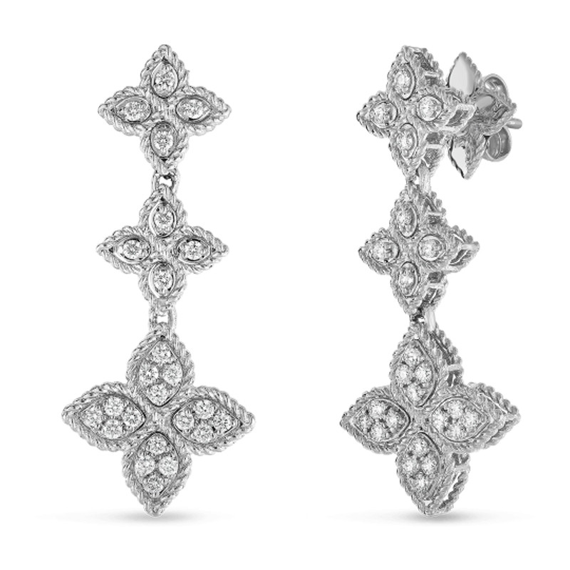 Roberto Coin White Gold Triple Diamond Princess Flower Drop Earrings