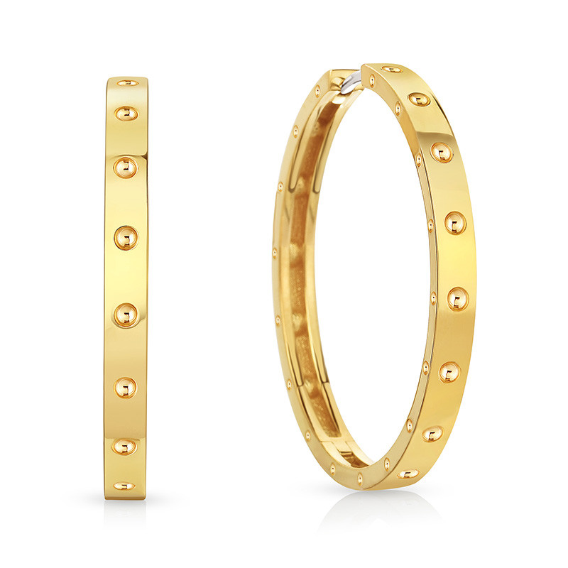 Roberto Coin Yellow Gold Large Symphony Pois Moi Hoop Earring
