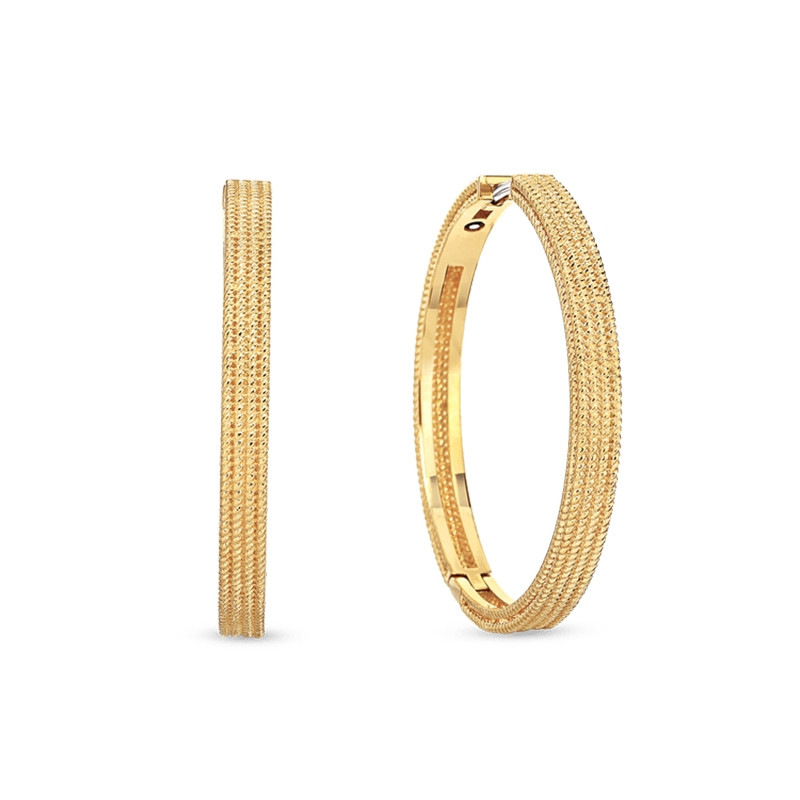 Roberto Coin Symphony Barocco Yellow Gold Hoop Earrings