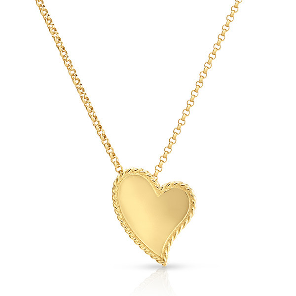 Roberto Coin Large Slanted Heart Pendant Necklace