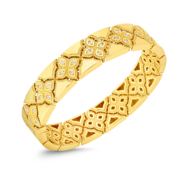 Roberto Coin Venetian Princess Yellow Gold Narrow Diamond Bangle
