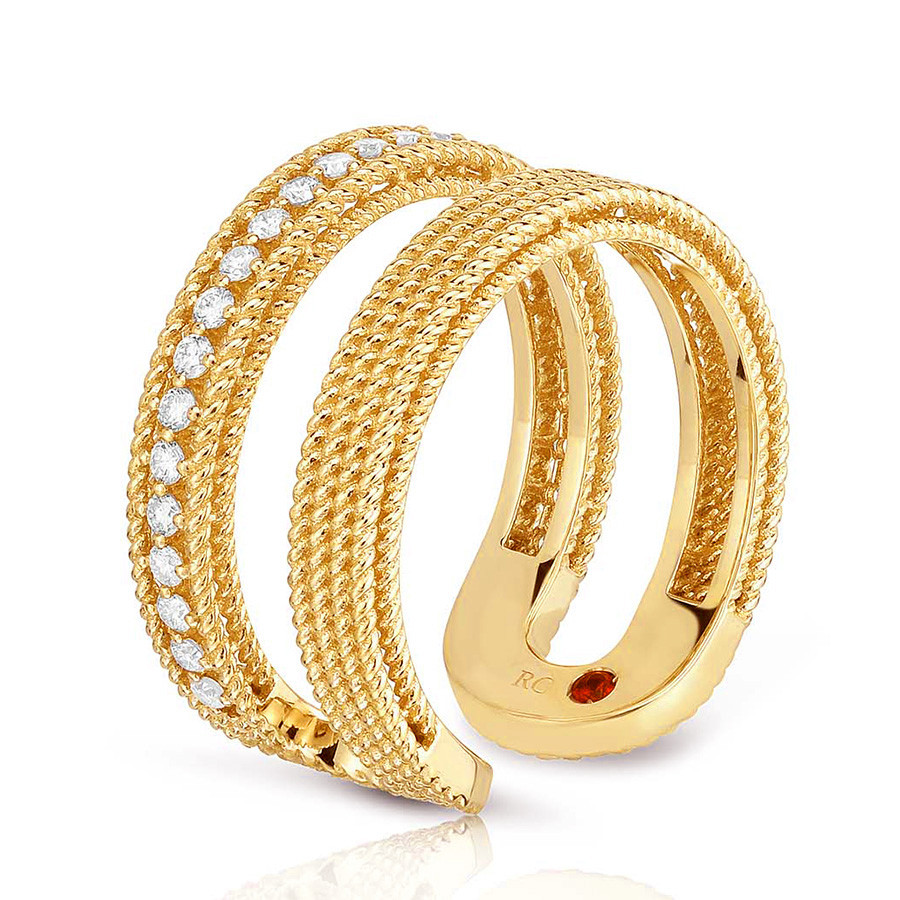 Roberto Coin Yellow Gold Symphony Two Row Diamond Barocco Ring