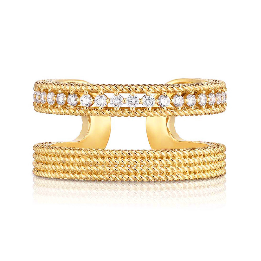 Roberto Coin Yellow Gold Symphony Two Row Diamond Barocco Ring Profile View