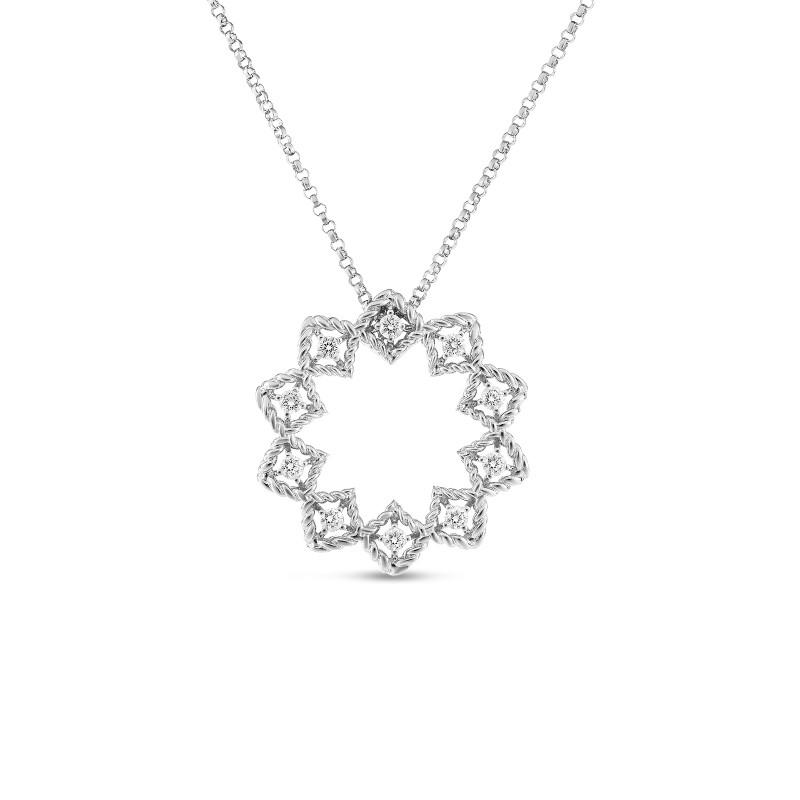 Roberto Coin White Gold Medium Diamond Starburst Roman Barocco Pendant Necklace