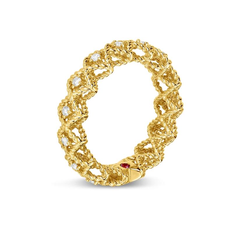 Roberto Coin Yellow Gold Single Row Diamond Roman Barocco Band Ring Angle View