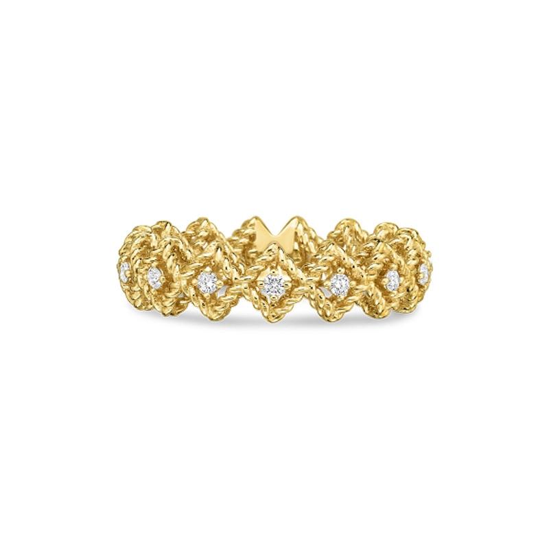 Roberto Coin Yellow Gold Single Row Diamond Roman Barocco Band Ring