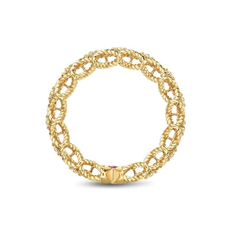 Roberto Coin Yellow Gold Single Row Diamond Roman Barocco Band Ring Side View