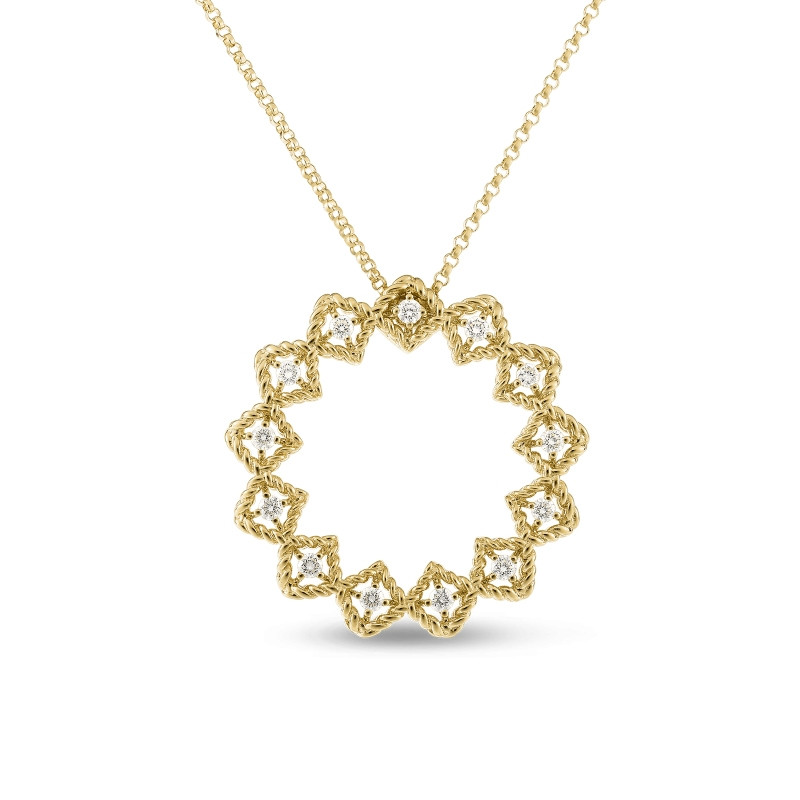 Roberto Coin Yellow Gold Large Diamond Circle Roman Barocco Pendant Necklace