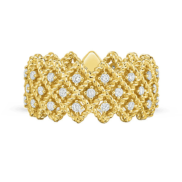 Roberto Coin Wide Yellow Gold Diamond New Barocco Ring Edge View