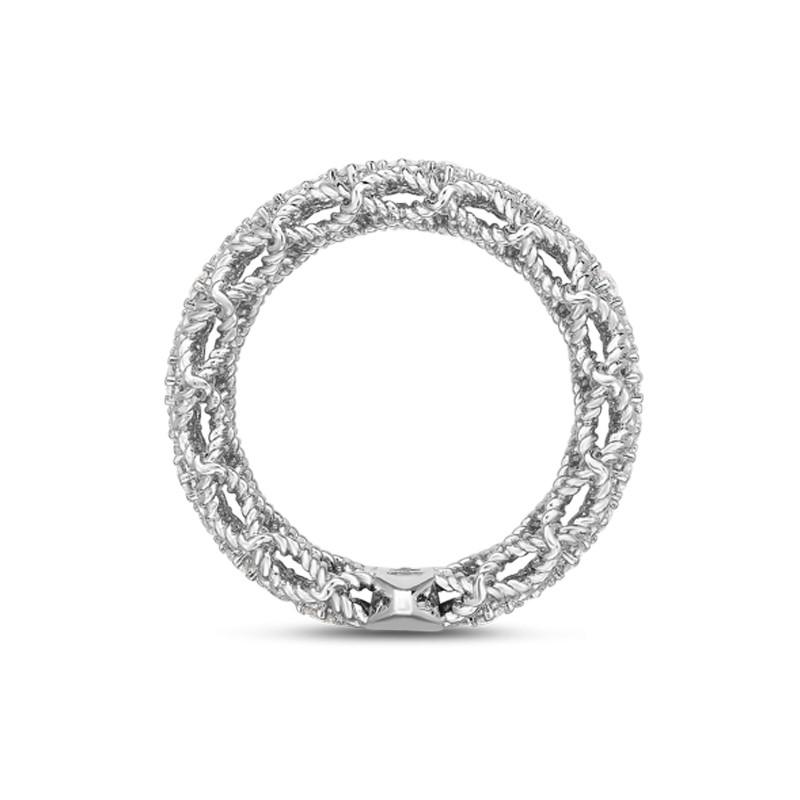 Roberto Coin White Gold 3 Row Diamond Roman Barocco Band Ring