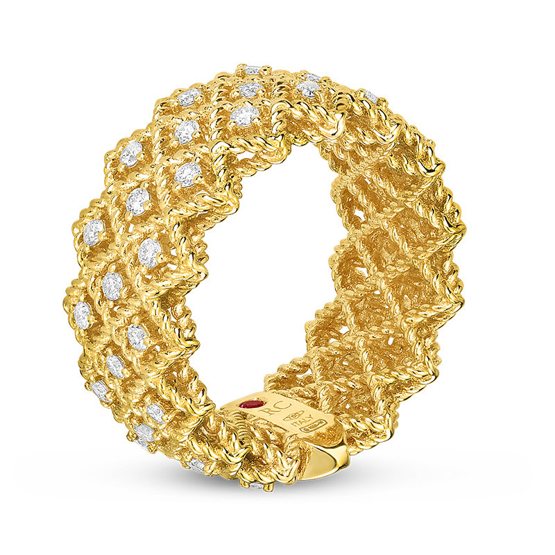 Roberto Coin Wide Yellow Gold Diamond New Barocco Ring