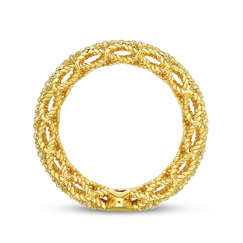 Roberto Coin Wide Yellow Gold Diamond New Barocco Ring Profile View