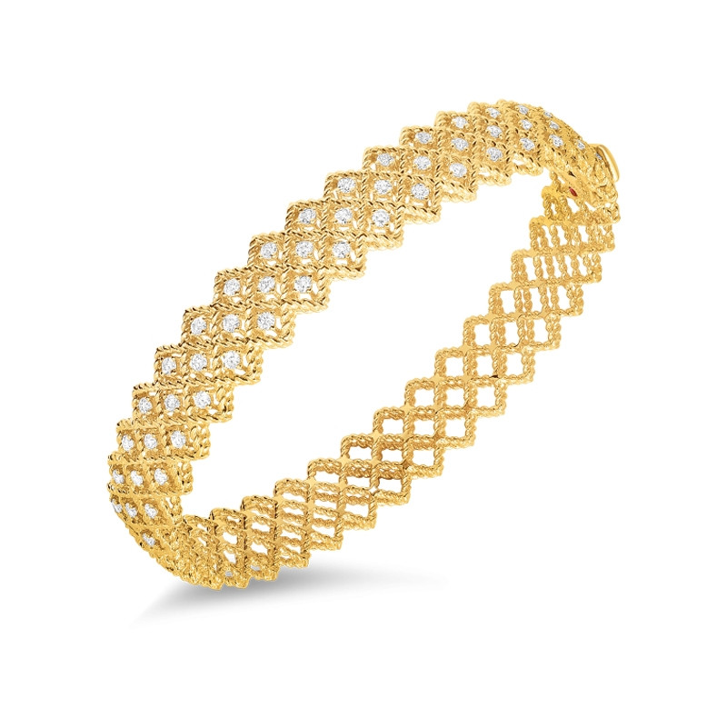 Roman Barocco Yellow Gold 2 Row Diamond Roberto Coin Bangle Bracelet