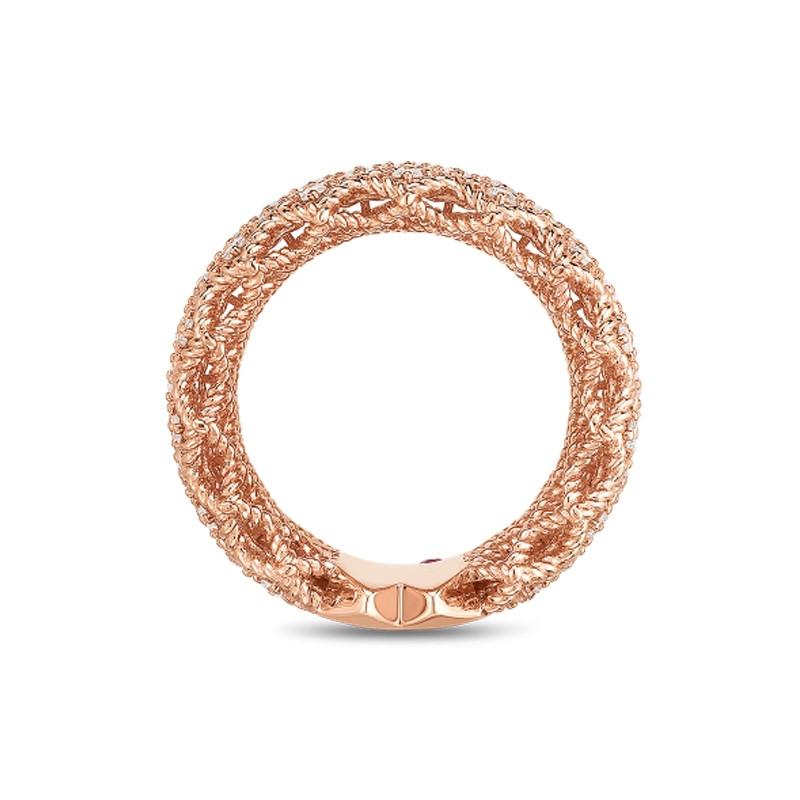 Roberto Coin Rose Gold 5 Row Diamond Roman Barocco Band Ring