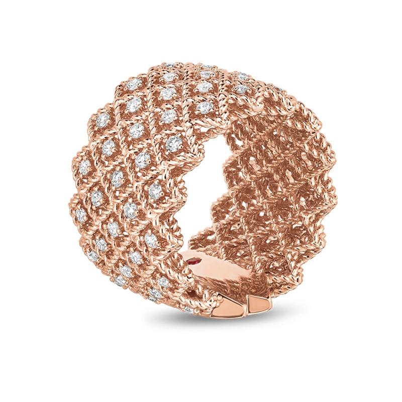 Roberto Coin Rose Gold 5 Row Diamond Roman Barocco Band Ring Angle View