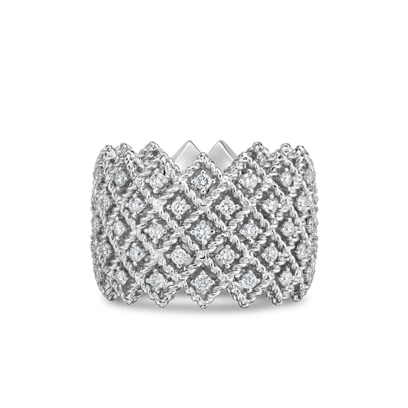 Roberto Coin White Gold 5 Row Diamond Roman Barocco Band Ring