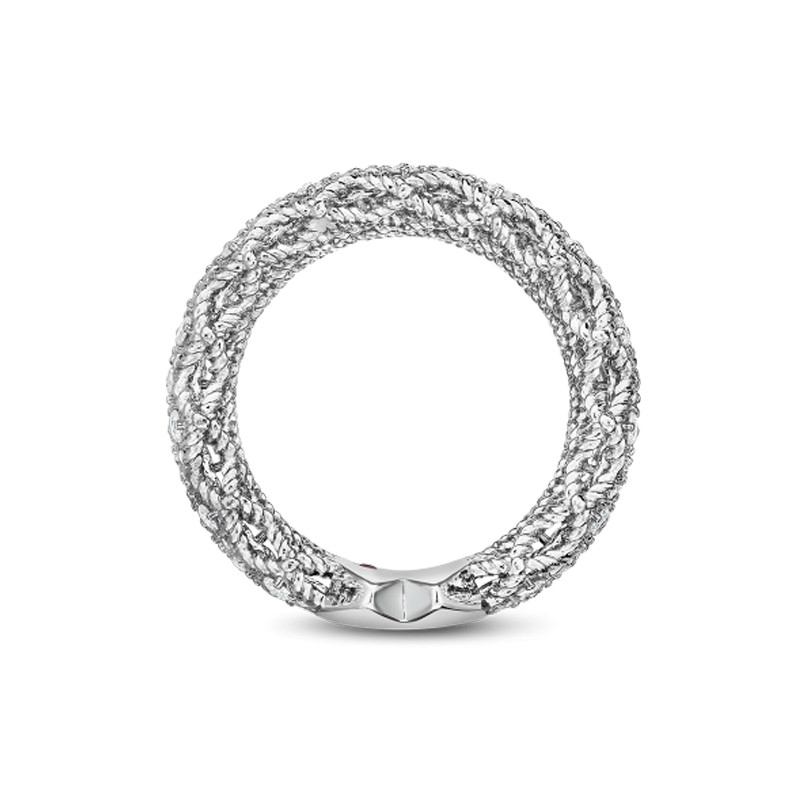 Roberto Coin White Gold 5 Row Diamond Roman Barocco Band Ring Side View