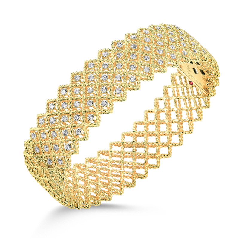 Roberto Coin Yellow Gold Five Row Diamond New Barocco Bangle