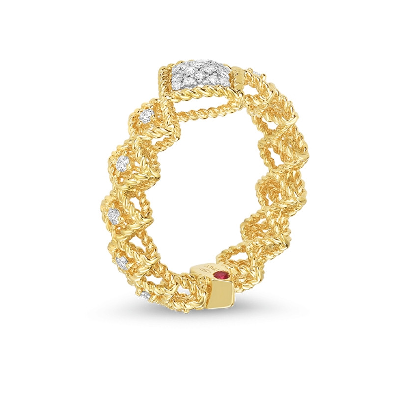 Roberto Coin Yellow Gold Pave Diamond Roman Barocco Band Ring Angle View
