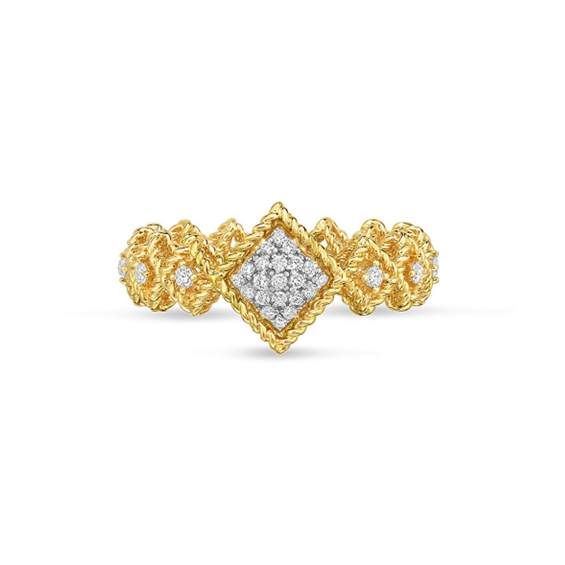 Roberto Coin Yellow Gold Pave Diamond Roman Barocco Band Ring