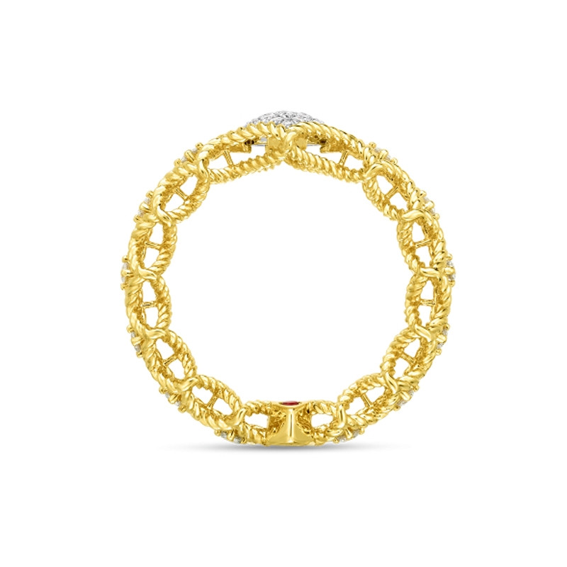 Roberto Coin Yellow Gold Pave Diamond Roman Barocco Band Ring Side View