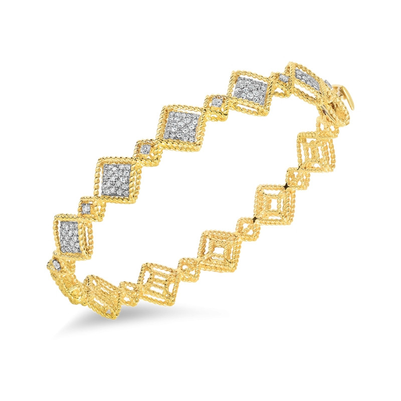 Roman Barocco Yellow Gold Diamond Station Roberto Coin Bangle Bracelet