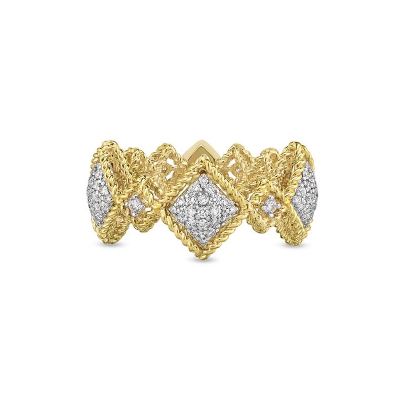 Roberto Coin Yellow Gold Large Diamond Roman Barocco Band Ring