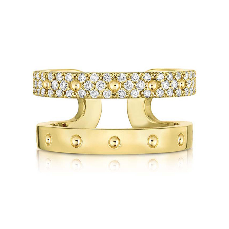 Roberto Coin Yellow Gold Two Row Diamond Symphony Pois Moi Ring Front View