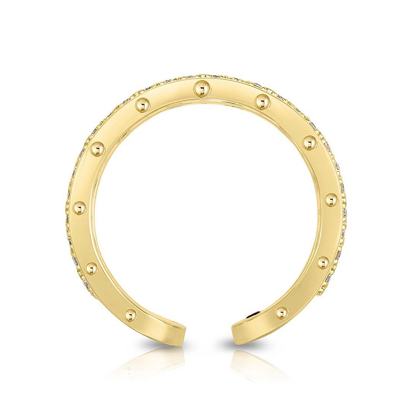 Roberto Coin Yellow Gold Two Row Diamond Symphony Pois Moi Ring Side View