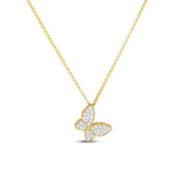 Roberto Coin Diamond Two Tone Butterfly Charm Necklace