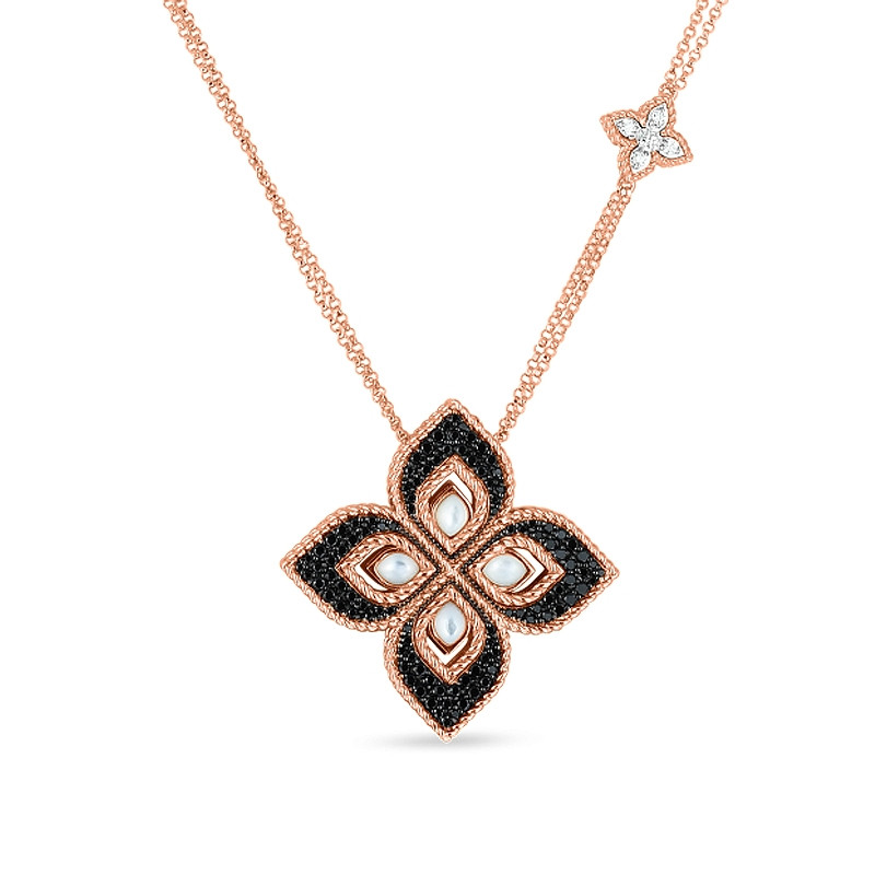 Roberto Coin Venetian Princess Rose Gold Black Diamond & Mother of Pearl Flower Necklace