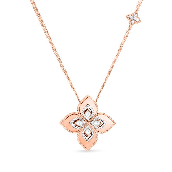 Roberto Coin Mother of Pearl & Diamond Flower Venetian Princess Pendant Necklace