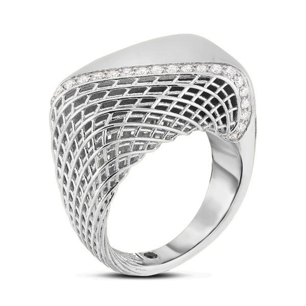 Roberto Coin White Gold Soie Diamond Square Ring