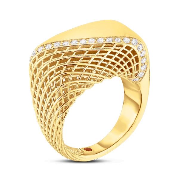 Roberto Coin Yellow Gold Soie Diamond Square Ring